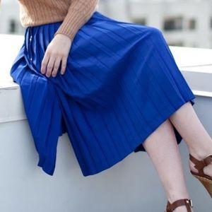 Zara Pleated Royal Blue Gold Button Midi Skirt S